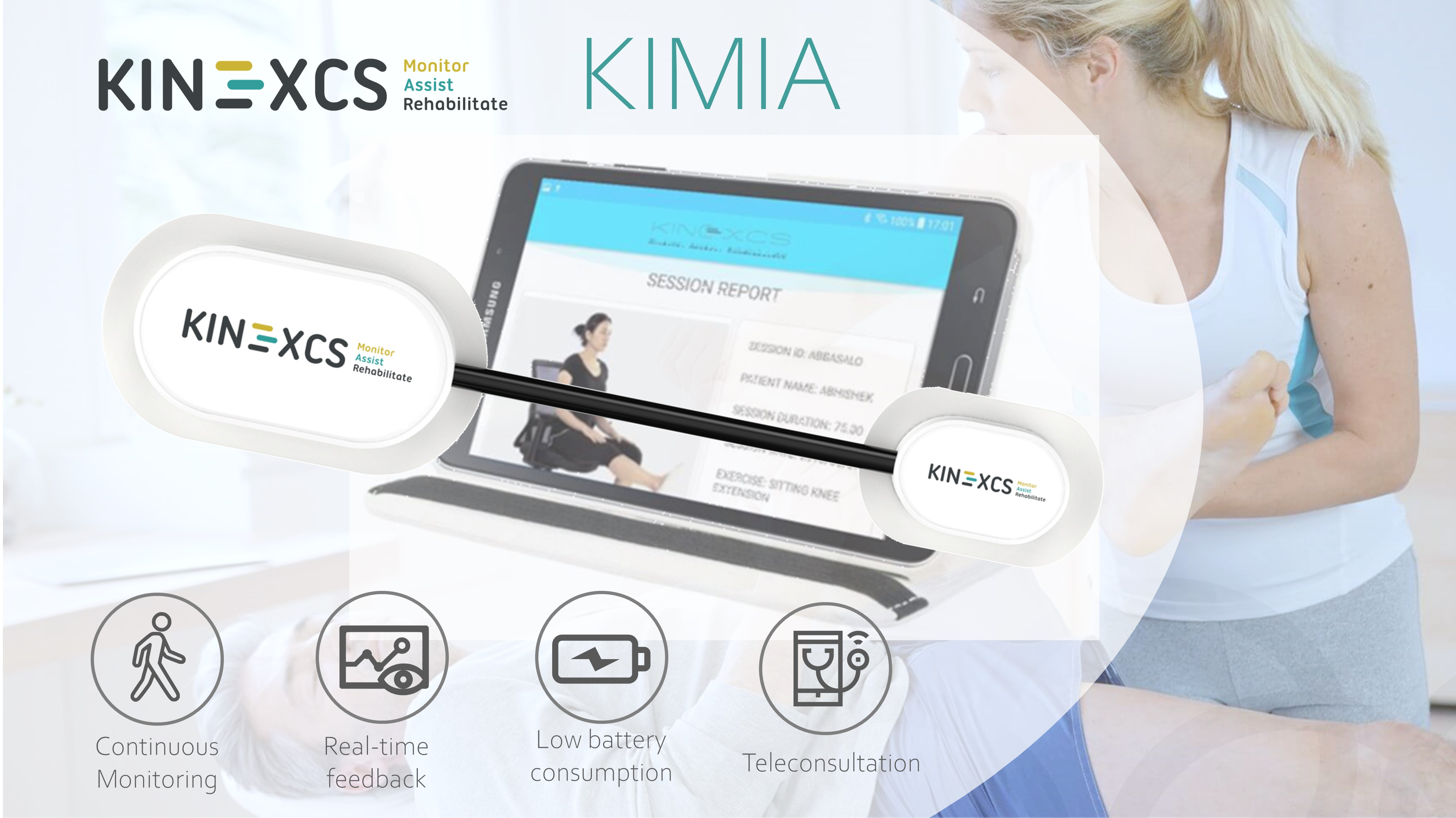 An image with a caption of: KIMIA - A system of a wearable sensor and complementary app