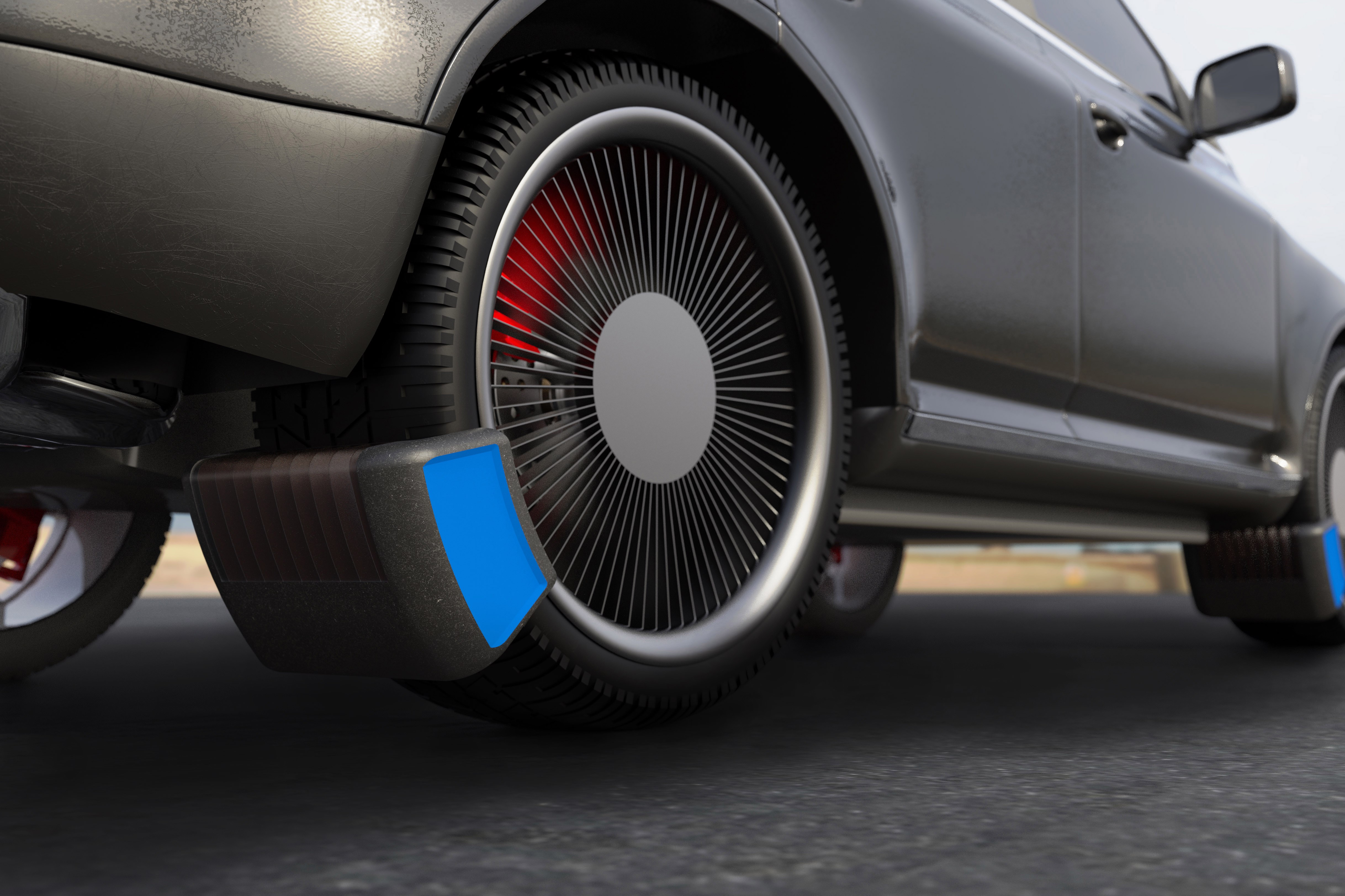 An image with a caption of: The device is positioned close to where the tyre touches the road to maximise effectiveness