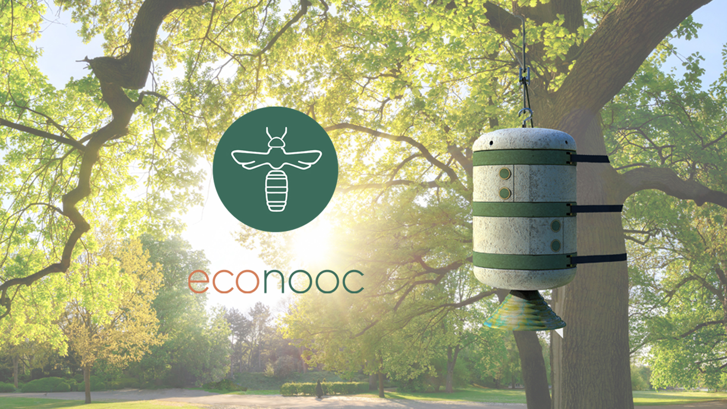 An image with a caption of: Econooc is a no effort conservation beehive made from mycelium that aims to engage the user.