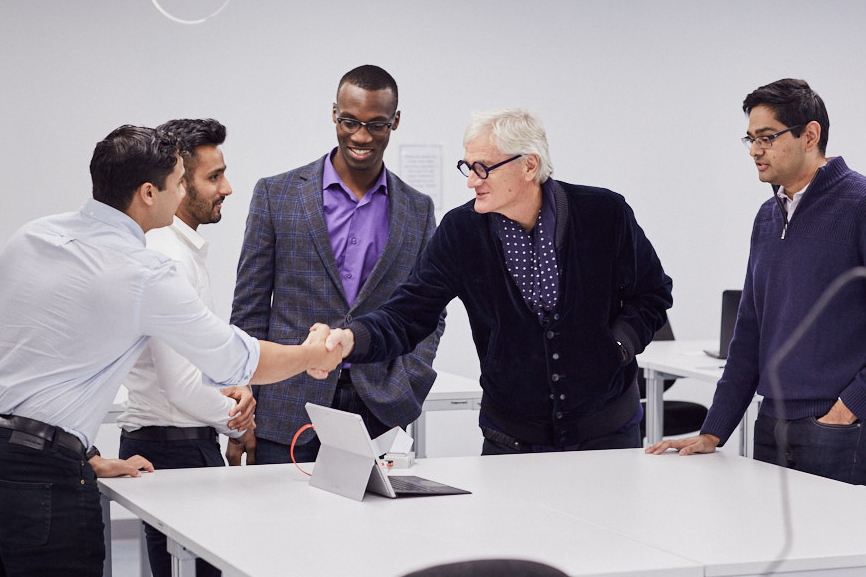 James Dyson and the sKan team discussing their invention. The sKan is a non-invasive and low cost melanoma detection device.
